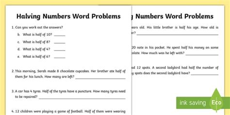 halving word problems worksheets halving numbers word problems worksheet activity sheet