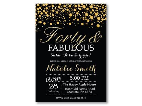 Surprise 40th Birthday Invitation Black and Gold Glitter