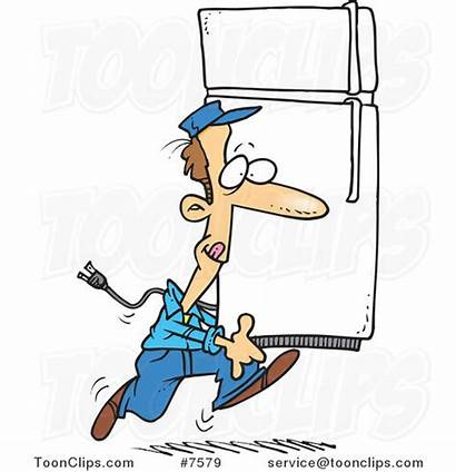 Cartoon Fridge Carrying Mover Leishman Ron Protected