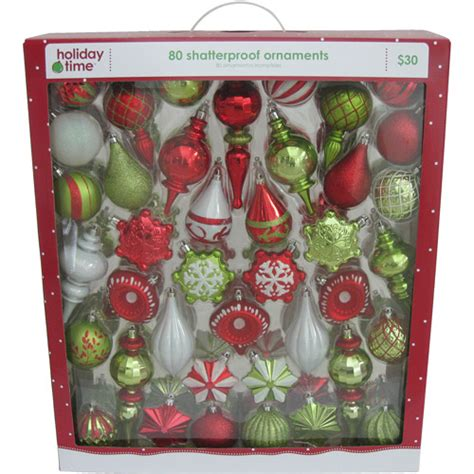 holiday time shatterproof ornaments walmart com