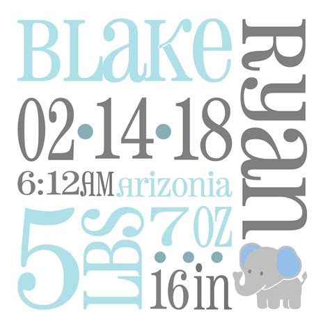 Announcing the birth of your baby has to be as festive to express the love and excitement that you feel. Elephant Baby Birth Announcement SVG Birth Stats svg Baby ...