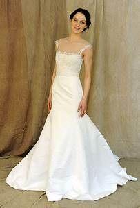 strapless illusion neckline white wedding dress sang maestro With illusion neckline wedding dress