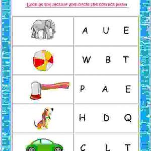 look at the picture and circle the correct letter
