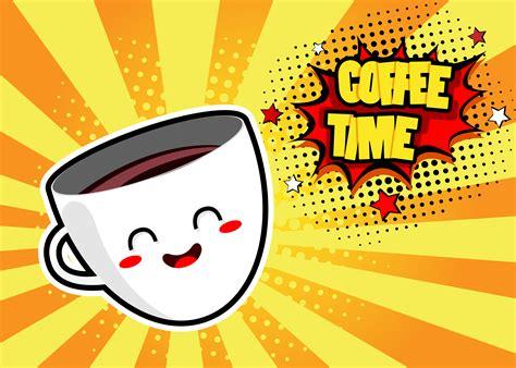 pop art hintergrund mit niedlicher kaffeetasse und rede