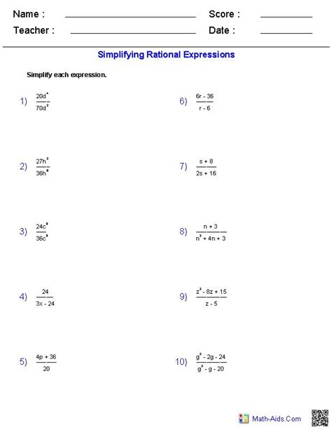 simplifying rational expressions worksheets math aids