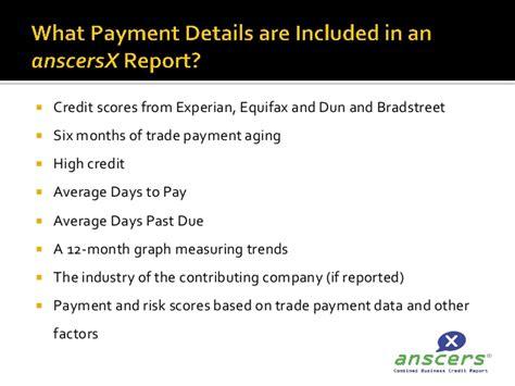 multi bureau anscersx multibureau business trade credit report presentation