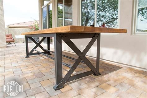 patio table reclaimed oak x base table industrial