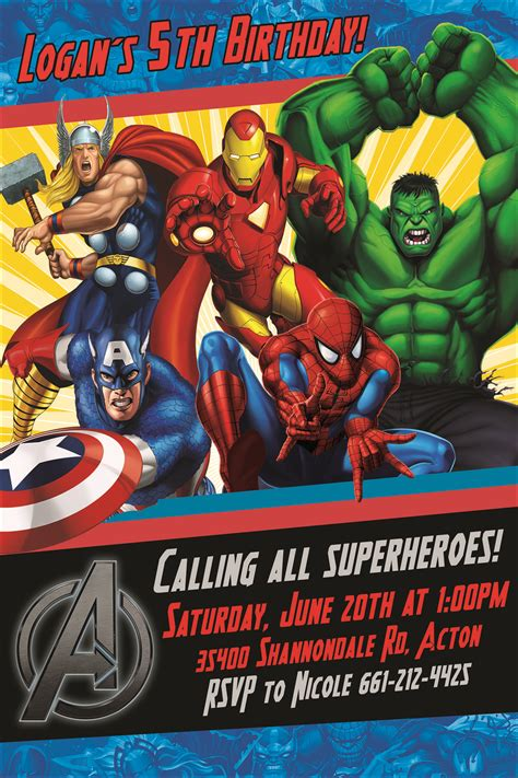 avengers birthday invite etsy visit  grab  amazing