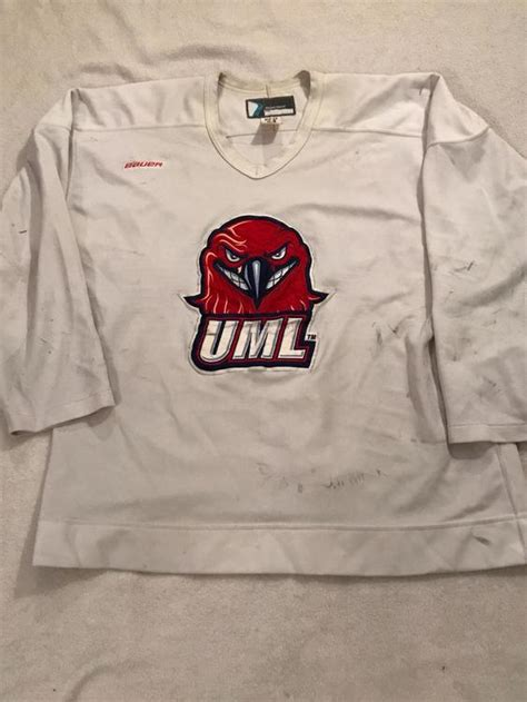 The game of hockey is adventurous and thrilling. Bauer UMass Lowell white practice jersey pro weight pro ...