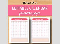 Fillable Blank Monthly Calendar 2018 – 2018 Calendar Template