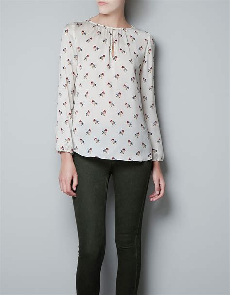 zara blouse zara bird print blouse in white ecru lyst