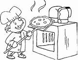 Coloring Pizza Oven Chef Foods Library sketch template