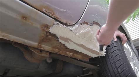 rust rocker panels rusted welding repair holes fixing panel fix hack foam spray brilliant brilliantdiy