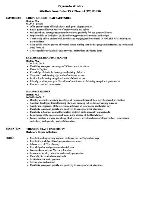 Bartender Resume by Bartender Resume Outathyme