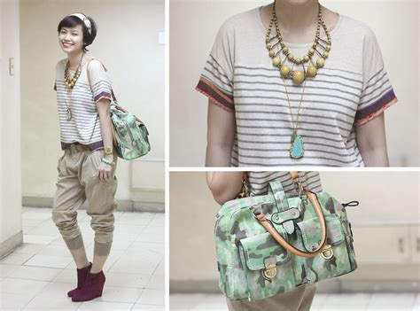 Bea Benedicto - Parfois Camo Bag Zara Pants Lust Clothing Top Moonstone Designs Necklace ...