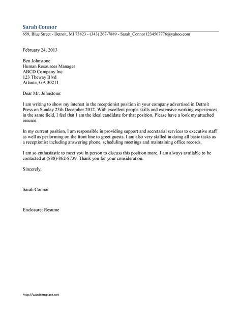 Cover Letters For Receptionist by Cover Letter For Receptionist Letters Free Sle Letters