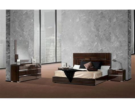 italian lacquer ebony bedroom set  silver accent bset