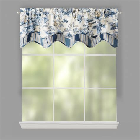 traditions by waverly 174 blue floral window valances set of