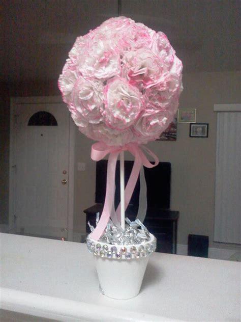 diy pink  white topiary tree   wedding centerpiece weddingbee photo gallery
