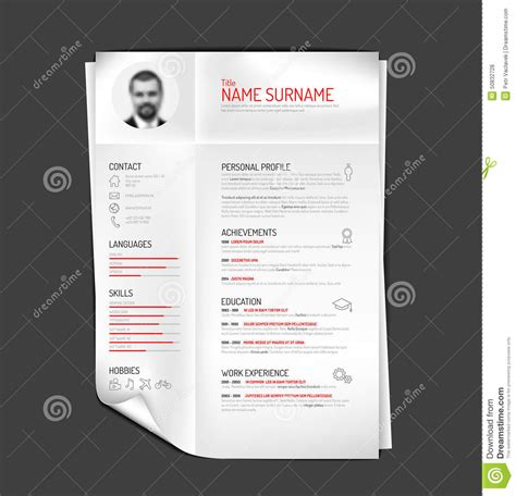 original cv resume template stock vector image 50832728