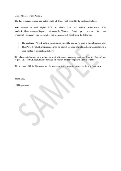 Allowances pol and vehicle maintenance letter to company