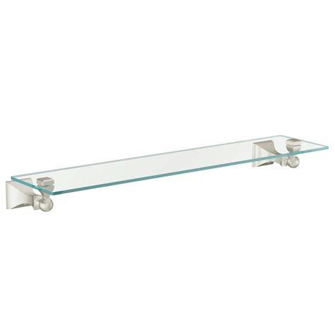 moen retreat wall mount clear glass shelf brushed nickel