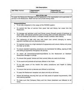 Description Exle Cashier by 9 Hostess Description Templates Free Sle Exle Format Free Premium