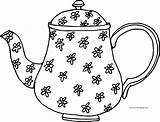 Teapot Coloring Flower Pages Wecoloringpage sketch template