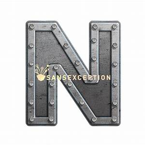 initial letter n metal hatch effect block of steel 2d very With metal block letters