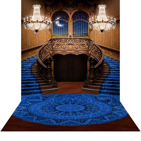 double staircase royal blue  photography backdrop