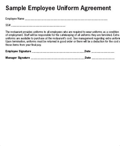 sample employee uniform forms  ms word