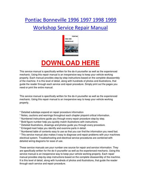 service and repair manuals 1995 pontiac bonneville regenerative braking pontiac bonneville 1996 1997 1998 1999 workshop service repair manual by chevroletservice issuu
