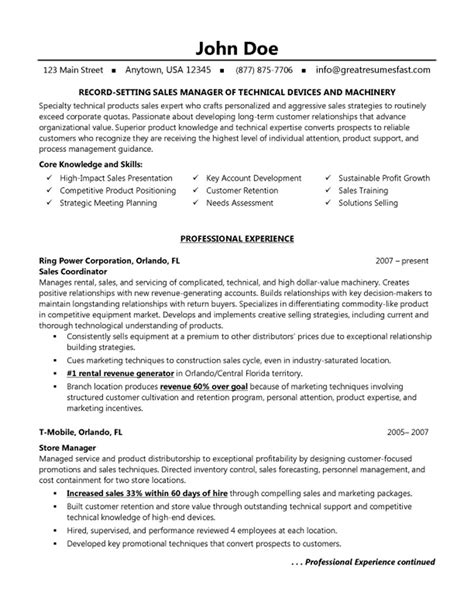 sales manager resume technical machinery device sales