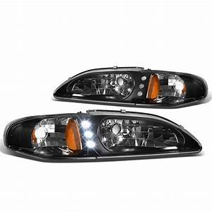 For 1994 to 1998 Ford Mustang SN95 LED DRL Headlight Black Housing Amber Corner 95 96 97 1Pc ...