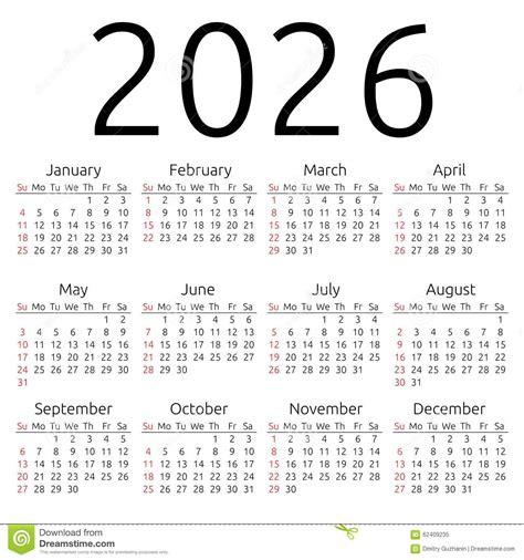 clear plans vector calendar 2026 sunday stock vector illustration