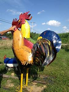 """40"""" Colorful Tin Rooster Yard Art Statue"""