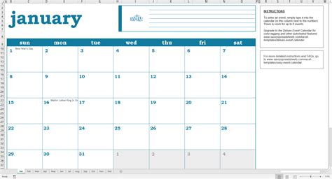 Calender Template Easy Excel Calendar Excel Template Savvy Spreadsheets