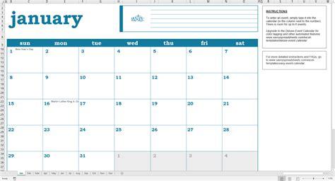 Calnedar Template by Easy Excel Calendar Excel Template Savvy Spreadsheets