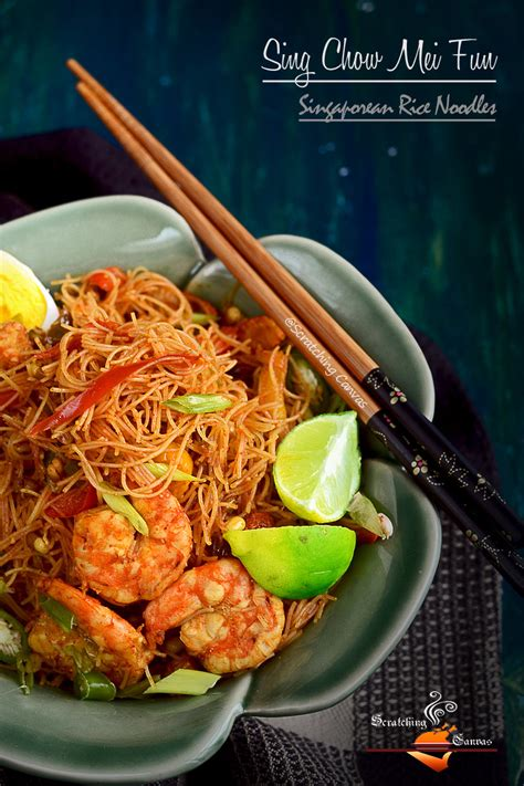sing chow mei fun singaporean rice noodles scratching canvas