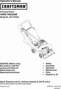 Craftsman 247770550 User Manual Yard Vacuum Manuals And