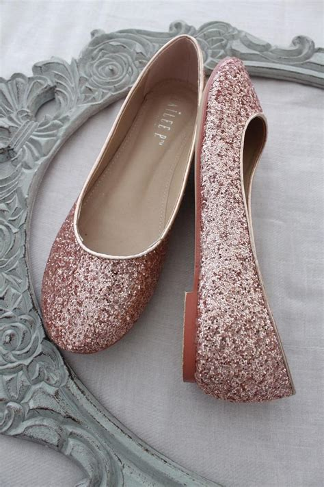 rose gold rock glitter flats  satin bow tie women