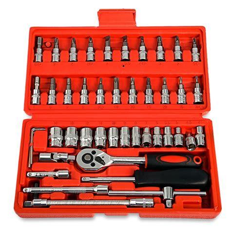 46pcs 1 4 inch car repair tool socket set ratchet torque wrench combo tools kit auto repairing