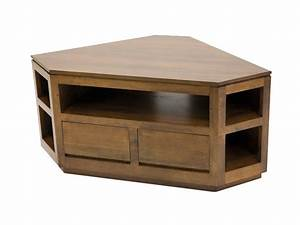 Meuble Angle Bois : meuble tv d 39 angle sur socle oscar 5 nches 2 tiroirs ~ Edinachiropracticcenter.com Idées de Décoration
