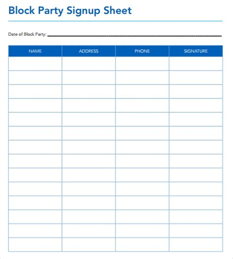 sample sign  sheet templates   ms word