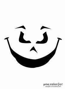 Pumpkin, Carving, Stencil, Evil, Grin, Coloring, Page
