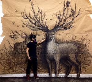 Animal murals by fiona tang appear to leap from gallery for Giant animal murals fiona tang