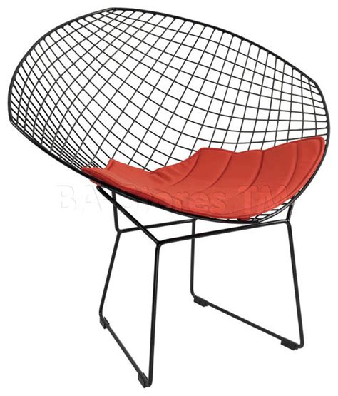 metal chair with cushion and grid design modern