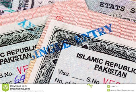 Pakistani Visa Stamps In Passport Stock Image - Image of ...