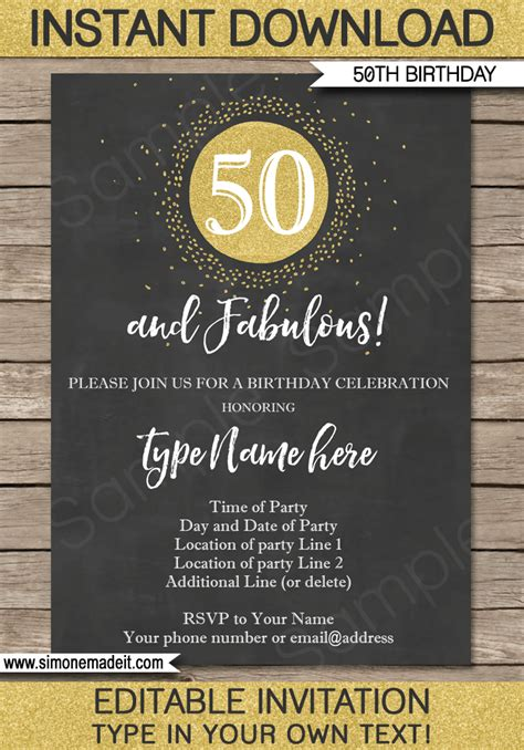 chalkboard  birthday invitations template editable