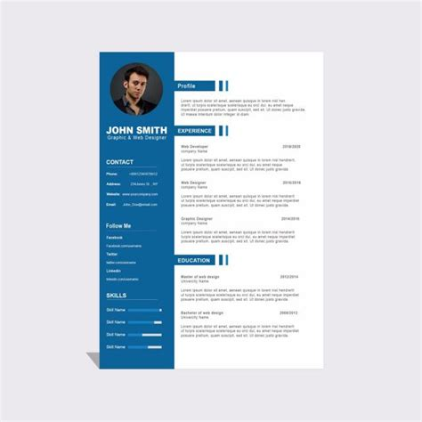 Curriculum Template Free by Curriculum Vitae Modelo Psd 5 Modelo Para